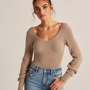 Abercrombie Scoopneck Knit Bodysuit Tan - Size XXS